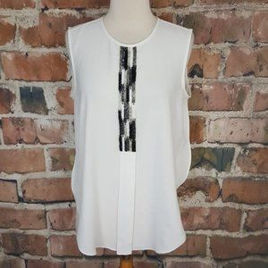 Vince Camuto White Black Sleeveless Blouse top M
